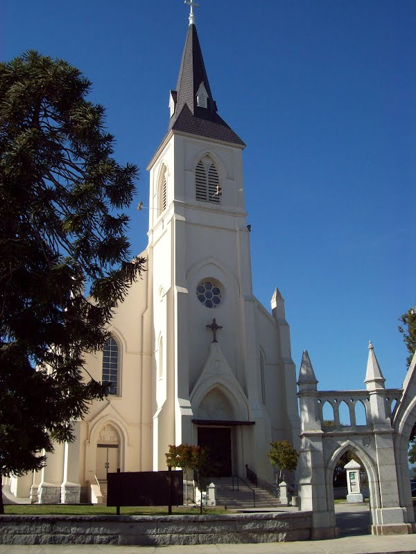 Holy Cross Catholic Church, perched on a hill above downtown Santa Cruz, is a well-known local landmark.